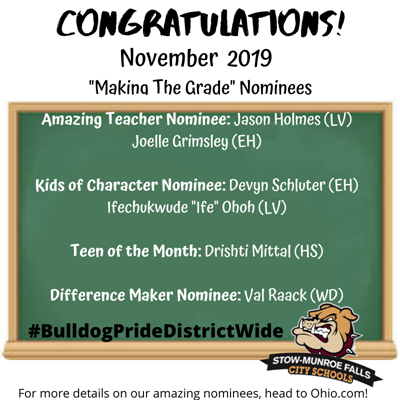 November 2019 Making the Grade Award Winners
